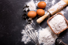 Ingredients for baking and kitchen utensils Royalty Free Stock Image