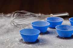 Ingredients for baking muffins on wooden table, close-up Stock Photo