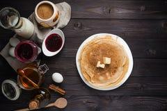 Ingredients for baking pancakes Stock Image