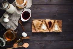 Ingredients for baking pancakes Royalty Free Stock Photos