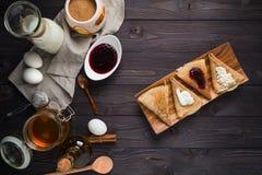 Ingredients for baking pancakes Royalty Free Stock Photography