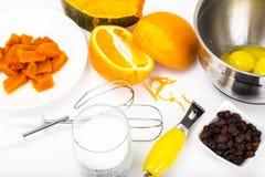 Ingredients for baking pumpkin pie royalty free stock photo
