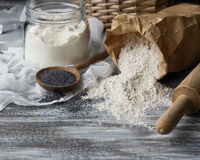 Ingredients for baking rye buns with poppy seeds Stock Photo
