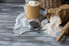 Ingredients for baking rye buns with poppy seeds Stock Image