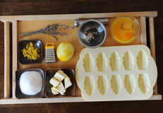 Ingredients for baking on the wood table. Ingredients for baking on the flat surface Stock Photography