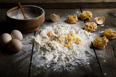 Ingredients for baking on a wooden background Stock Photo
