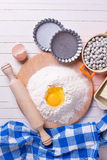 Ingredients for baking on wooden background Royalty Free Stock Photography