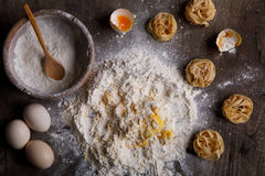 Ingredients for baking on a wooden background top view Royalty Free Stock Photography