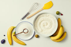 Ingredients for the banana cake Royalty Free Stock Images