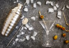 Ingredients and bar utensils for making martini cocktail. Top view Stock Photo