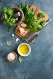 Ingredients for basil pesto Stock Photo