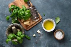 Ingredients for basil pesto Stock Image
