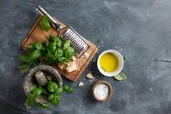 Ingredients for basil pesto Stock Images