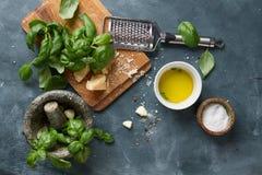 Ingredients for basil pesto Royalty Free Stock Photo