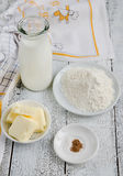 Ingredients for bechamel Stock Photography
