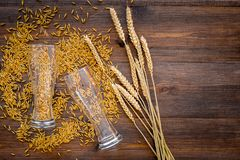 Ingredients for beer. Malting barley in beer glass on wooden background top view copyspace. Ingredients for beer. Malting barley in beer glass on wooden Royalty Free Stock Image