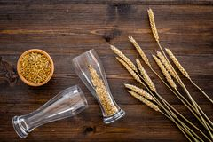 Ingredients for beer. Malting barley in beer glass on wooden background top view.  Royalty Free Stock Images