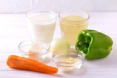 Ingredients. Bell pepper, carrot, onion, boullion, milk, fleur, Royalty Free Stock Photos