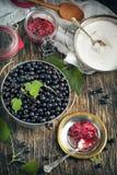 Ingredients for blackcurrant jam Stock Photo