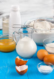 Ingredients. On the blue table stock image