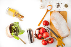 Ingredients for  bruschetta on the white background top view Stock Photo