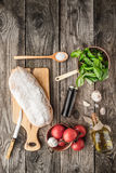 Ingredients for  bruschetta on the wooden table Royalty Free Stock Images