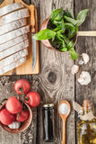 Ingredients for  bruschetta on the wooden table top view Royalty Free Stock Photography