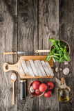 Ingredients for  bruschetta on the wooden table vertical Royalty Free Stock Photography