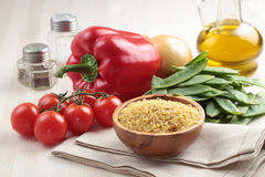 Ingredients for bulgur pilaf Stock Images