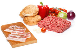 Ingredients for burger over the white background Stock Photography