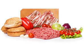 Ingredients for burger over the white background Royalty Free Stock Photos