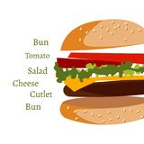 Ingredients in burger on white background. Vector illustration Royalty Free Stock Images