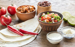 Ingredients for burrito Royalty Free Stock Photo