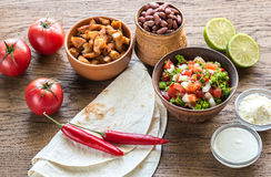 Ingredients for burrito Stock Photos