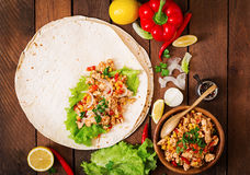 Ingredients for Burritos wraps chicken meat Stock Photo