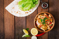 Ingredients for Burritos wraps chicken meat Royalty Free Stock Photo