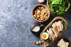 Ingredients for Caesar salad Stock Images