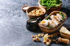 Ingredients for Caesar salad Stock Image