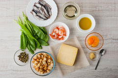 Ingredients for Caesar salad with shrimp and parmesan Royalty Free Stock Photos
