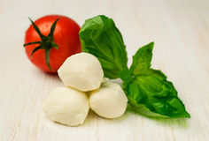 Ingredients for Caprese : mozzarella , cherry tomatoes and basil Royalty Free Stock Images