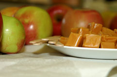 Ingredients for Caramel apples. All the ingredients to make caramel apples Stock Photo