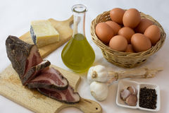 The ingredients for the carbonara Stock Photography