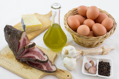 The ingredients for the carbonara Royalty Free Stock Photo