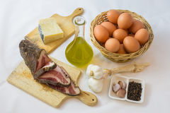 The ingredients for the carbonara Stock Photos