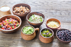 Ingredients for chicken burrito bowl Stock Image