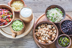 Ingredients for chicken burrito bowl Stock Images