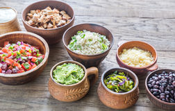 Ingredients for chicken burrito bowl Royalty Free Stock Image