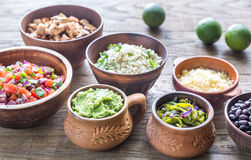 Ingredients for chicken burrito bowl Royalty Free Stock Photography