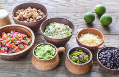 Ingredients for chicken burrito bowl Royalty Free Stock Images