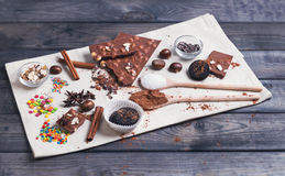 Ingredients for chocolate dessert preparation Stock Images